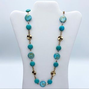 Charming Charlie Faux Turquoise Bead Gold Tone Nck